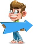 Business Monkey Cartoon Vector Character AKA Mr. Monkey Bananas - Pointer 2