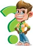 Business Monkey Cartoon Vector Character AKA Mr. Monkey Bananas - Question