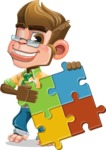 Business Monkey Cartoon Vector Character AKA Mr. Monkey Bananas - Puzzle