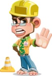 Business Monkey Cartoon Vector Character AKA Mr. Monkey Bananas - Under Construction 1