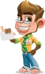 Business Monkey Cartoon Vector Character AKA Mr. Monkey Bananas - Sign 1