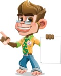 Business Monkey Cartoon Vector Character AKA Mr. Monkey Bananas - Sign 2