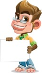 Business Monkey Cartoon Vector Character AKA Mr. Monkey Bananas - Sign 3