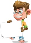Business Monkey Cartoon Vector Character AKA Mr. Monkey Bananas - Sign 4