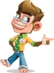 Business Monkey Cartoon Vector Character AKA Mr. Monkey Bananas - Point