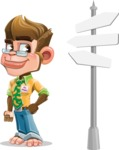 Business Monkey Cartoon Vector Character AKA Mr. Monkey Bananas - Crossroad