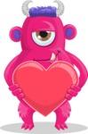 Cute Monster Cartoon Character - Holding Heart