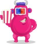 Cute Monster Cartoon Character - Watching Movie