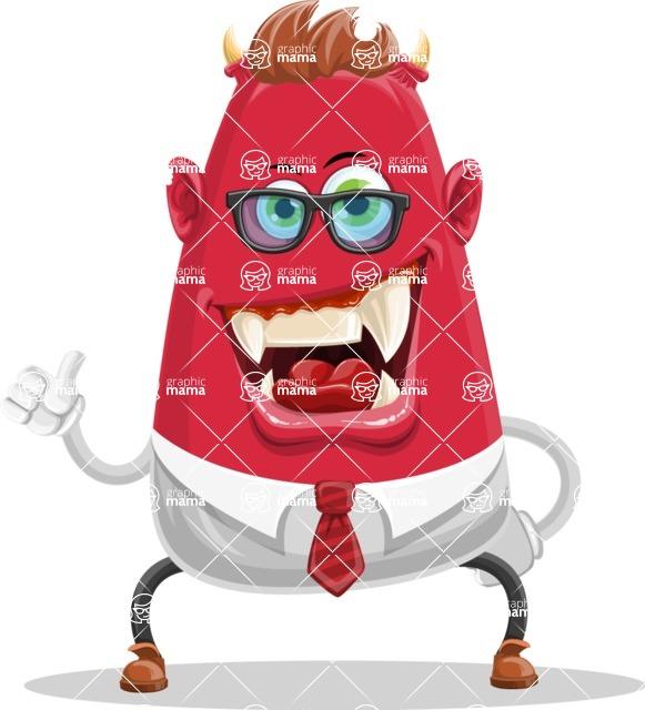 Business Monster Cartoon Character - Thumbs Up