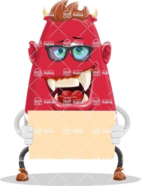 Business Monster Cartoon Character - Sign 1