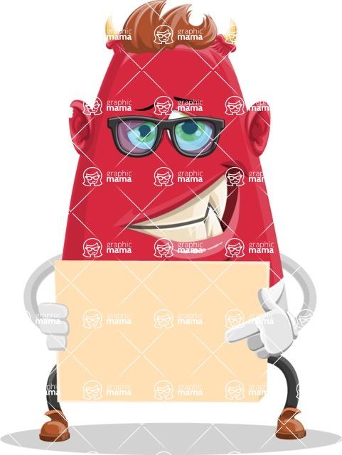 Business Monster Cartoon Character - Sign 3