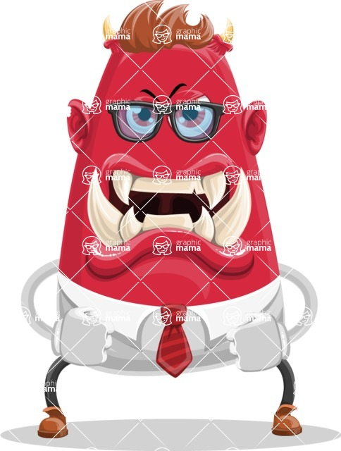Business Monster Cartoon Character - Angry