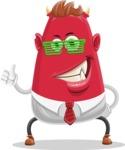 Business Monster Cartoon Character - Business Monster Cartoon Character with Glasses