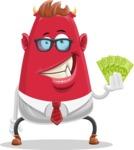Business Monster Cartoon Character - Business Monster Cartoon Character with Cash Money