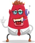 Business Monster Cartoon Character - Customer Service Business Monster Cartoon