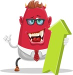 Business Monster Cartoon Character - Business Monster Cartoon Character with Arrow