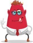 Business Monster Cartoon Character - Attention