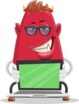 Business Monster Cartoon Character - Business Monster Character with Laptop