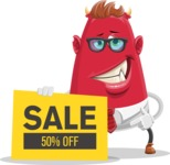 Business Monster Cartoon Character - Business Monster Cartoon Character with Sale Banner 1