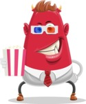 Business Monster Cartoon Character - Business Monster Cartoon Character Watching a Movie