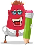 Business Monster Cartoon Character - Business Monster Character with a Pencil