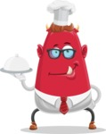 Business Monster Cartoon Character - Cooking Business Monster Cartoon