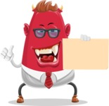 Business Monster Cartoon Character - Sign 4