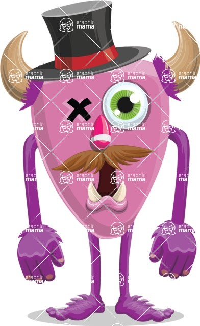 Monster Vector Cartoon Graphic Maker - One-eyed monster with hat and horns