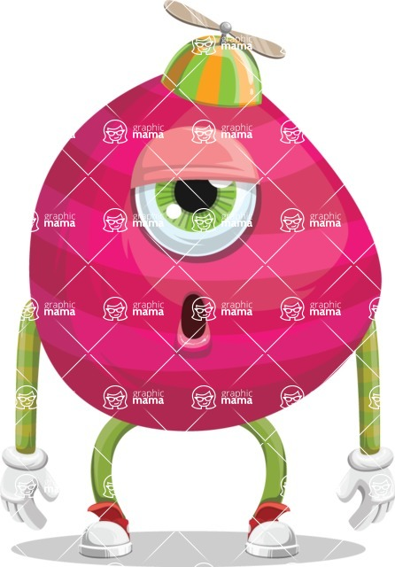 Monster Vector Cartoon Graphic Maker - Sleepy pink monster