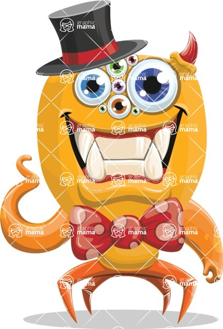 Monster Vector Cartoon Graphic Maker - Monster with bow tie and cylinder hat
