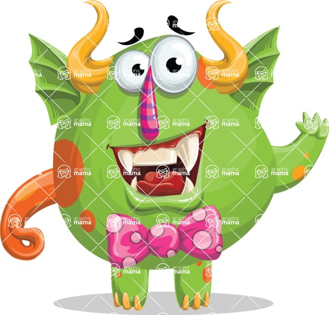 Monster Vector Cartoon Graphic Maker - Friendly chubby monster with bow tie