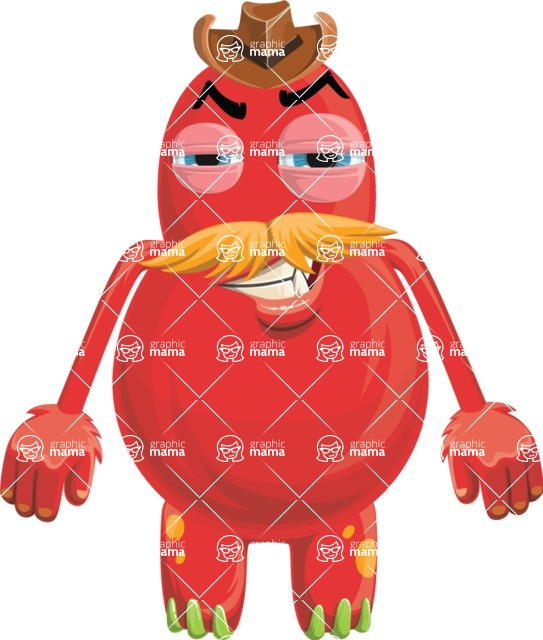 Vector Monster Mania - Angry red monster with mustache