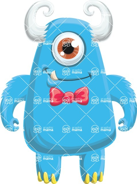 Vector Monster Mania - Cute blue cyclop monster