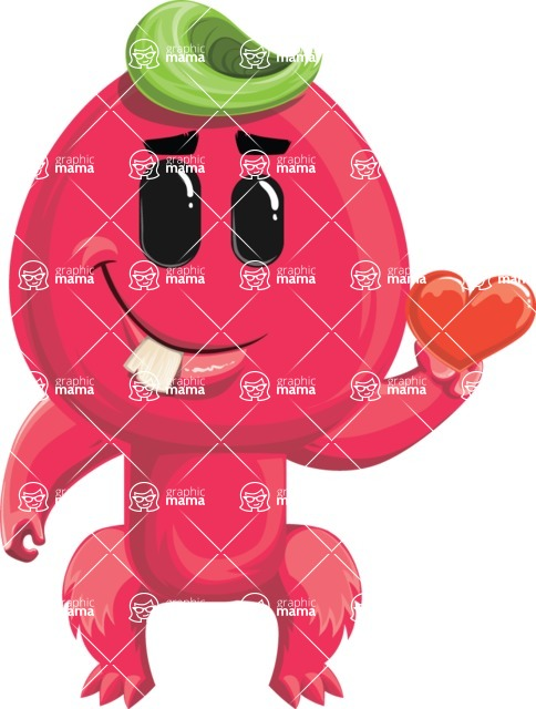 Monster Vector Cartoon Graphic Maker - Shy romantic monster