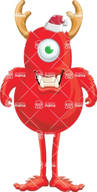 Vector Monster Mania - Excited Christmas monster
