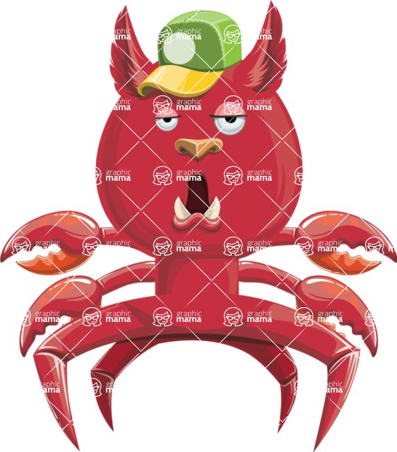 Vector Monster Mania - Crab monster with hat