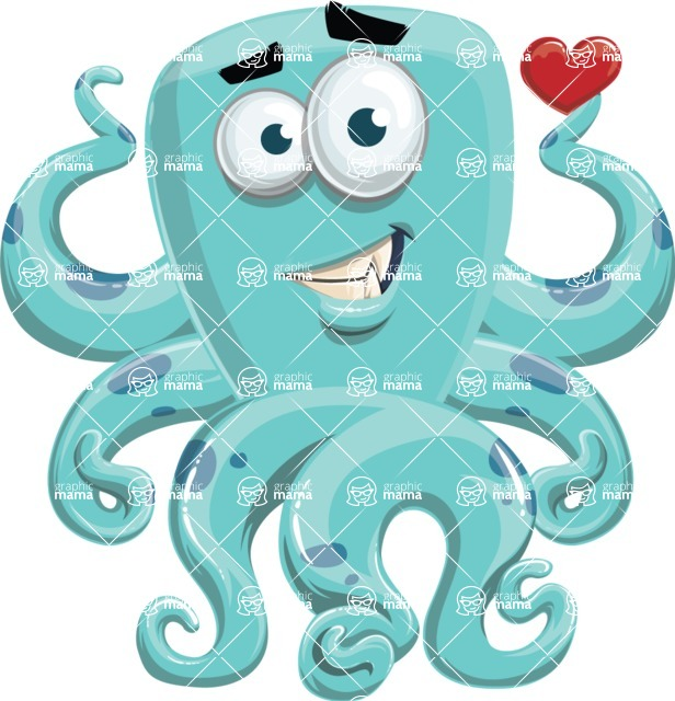 Monster Vector Cartoon Graphic Maker - Octopus monster in love