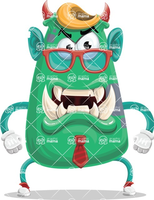 Monster Vector Cartoon Graphic Maker - Office monster with glasses