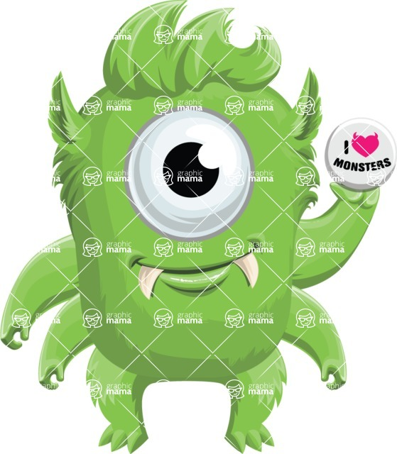 Vector Monster Mania - Cute monster with badge