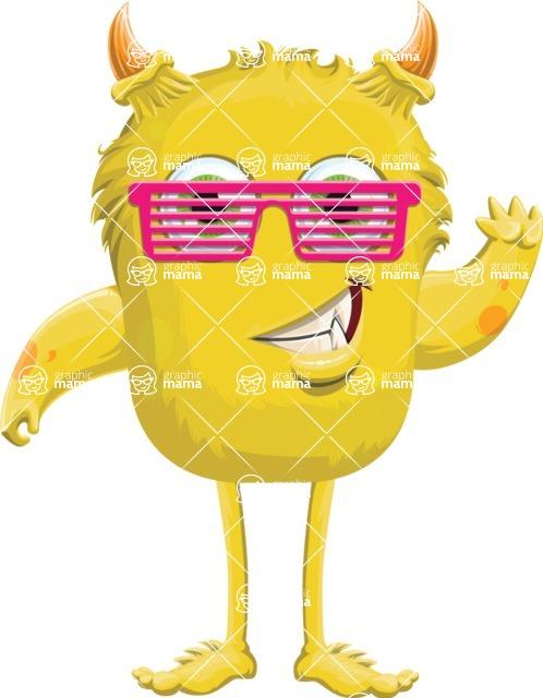 Monster Vector Cartoon Graphic Maker - Joyful monster with sunglasses