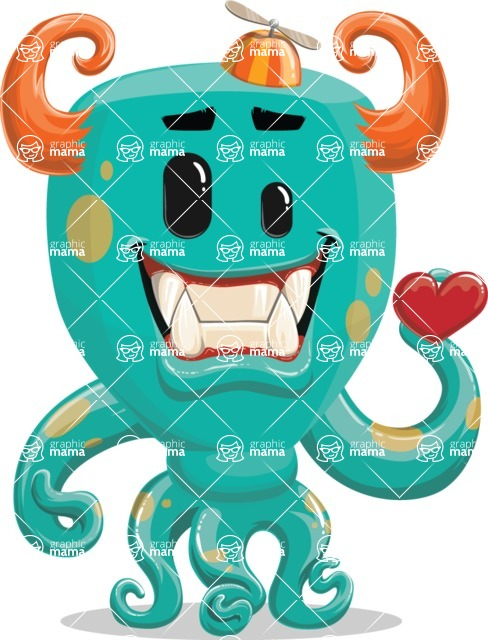Vector Monster Mania - Romantic colorful monster