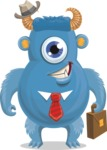 Vector Monster Mania - Business monster with suitcase and hat