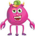 Monster Vector Cartoon Graphic Maker - Vibrant monster with hat
