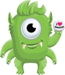 Monster Vector Cartoon Graphic Maker - Cute monster with badge
