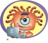 Octopus Monster Cartoon Vector Character AKA Mister Octo-monster - Shape 3