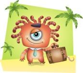 Octopus Monster Cartoon Vector Character AKA Mister Octo-monster - Shape 5