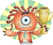 Octopus Monster Cartoon Vector Character AKA Mister Octo-monster - Shape 7