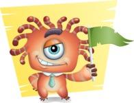 Octopus Monster Cartoon Vector Character AKA Mister Octo-monster - Shape 8