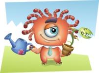 Octopus Monster Cartoon Vector Character AKA Mister Octo-monster - Shape 9