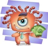 Octopus Monster Cartoon Vector Character AKA Mister Octo-monster - Shape 12
